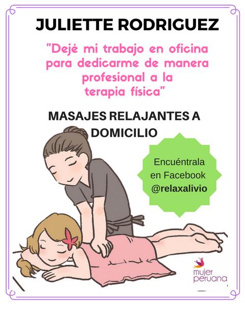 Experta en masajes relajantes: Juliette Rodríguez (Lima)